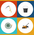 flat icon farm set of hosepipe pail lawn mower vector image vector image