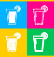 glass of juice icons four styles of icon on four vector image