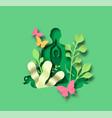 green papercut woman in yoga lotus tree pose vector image vector image