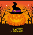 halloween card with pumpkin and witch hat vector image vector image