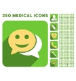 Happy Chat Icon and Medical Longshadow Icon Set vector image