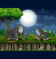 happy gorilla mother with her baplaying under t vector image vector image