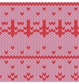 Knitted pattern red flowers vector image vector image