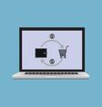 laptop with the image of the consumer basket vector image vector image