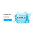 male female doctors moving patient in hospital bed vector image vector image
