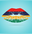 mauritius flag lipstick on the lips isolated on a vector image vector image