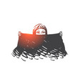 muslim woman with black scarf concept sketch hand vector image vector image
