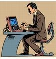 old man plays a computer game pop art comics ret vector image