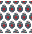 seamless pattern of dotted easter eggs with red vector image