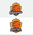 set basketball logo label badge emblem vector image