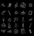 set icons hand drawing line doodle school items vector image