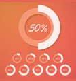 set infographic diagram percent circles vector image