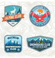 set mountain expedition and snowboard club vector image vector image