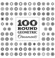 Set of 100 round geometric ornaments vector image vector image