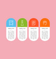 Set of colorful icons isolated on pink backdrop