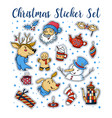 set of stickers with cute christmas characters vector image