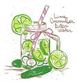 Sketch of Lime Cucumber Detox water vector image vector image
