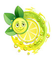 Slice of yellow lemon with leafs and a smiley face vector image vector image