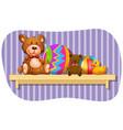 teddybears and balls on wooden shelf vector image vector image