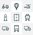 transportation icons line style set with lorry vector image vector image
