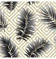Tropical palm leaves seamless geometric vector image