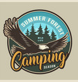 vintage summer camping colorful round label vector image vector image