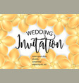 wedding invitation with gold flowers vector image