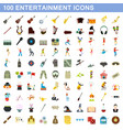100 entertainment icons set flat style vector image vector image