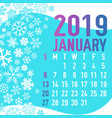 2019 winter months calendar template vector image vector image