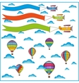 air balloon and airplane composition vector image vector image