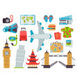 airport travel icons flat vector image vector image