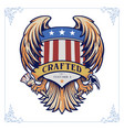 badge wing crafted with banner vintage vector image