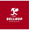 Bellhop Asian deliveryman runs speed delivery vector image vector image