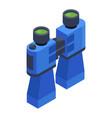 blue binoculars isometric icon vector image vector image
