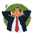 businessman is relaxing lying on grass vector image