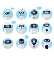 chat bot icons chatbot robots with message bubble vector image