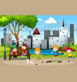 children playing in the park vector image vector image