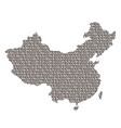 china map abstract schematic from black ones and vector image