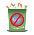 cigarettes in a garbage can vector image