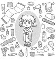 colorless set bathroom objects girl