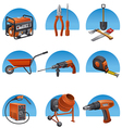 construction tools icon set vector image vector image