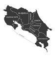 costa rica map labelled black vector image vector image