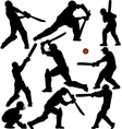Cricket Sports Silhouettes vector image vector image