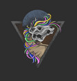 dark unicorn skull rainbow vector image