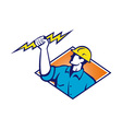 Electrician construction worker retro vector | Price: 1 Credit (USD $1)