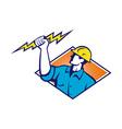 Electrician Construction Worker Retro vector image vector image