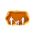 family walking together in papercut template vector image