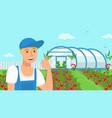 farmer growing strawberries vector image vector image