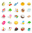 fish day icons set isometric style vector image vector image
