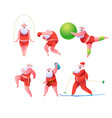 funny flat santa doing sports set vector image vector image